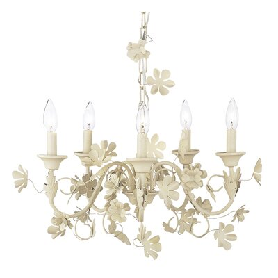 Leaf and Flower 5-Light Candle-Style Chandelier Finish: Ivory