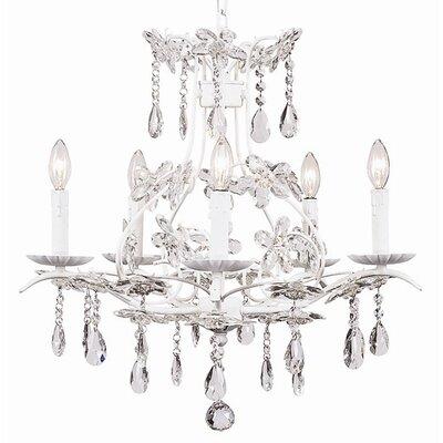 Cinderella 5-Light Crystal Chandelier Finish: White