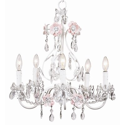Flower Garden 5-Light Crystal Chandelier Finish: Pink / White