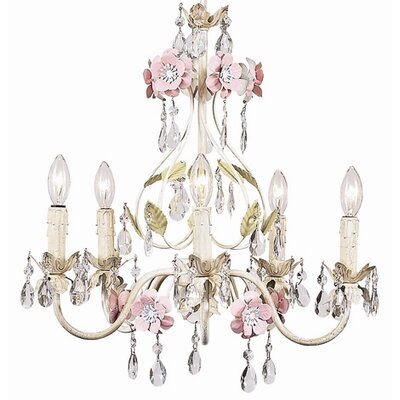 Flower Garden 5-Light Crystal Chandelier Finish: Ivory / Sage / Pink