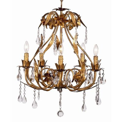 Ballroom 5-Light Crystal Chandelier Finish: Gold