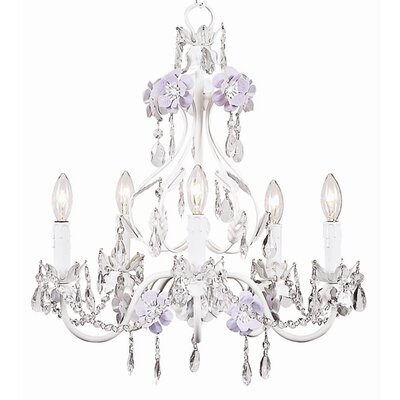 Flower Garden 5-Light Crystal Chandelier Finish: Lavender / White