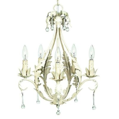 Caesar 5-Light Crystal Chandelier Shade: Pink with White Sash, Finish: White