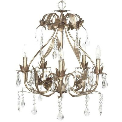 Ballroom 5-Light Crystal Chandelier Finish: Warm Silver