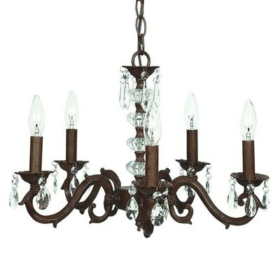 Turret 5-Light Crystal Chandelier Finish: Mocha