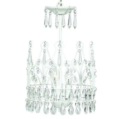 3-Light Crystal Chandelier Finish: White