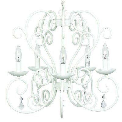 5-Light Carriage Candle-Style Chandelier Finish: White
