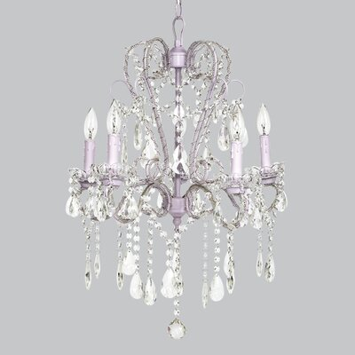 Whimsical 5-Light Crystal Chandelier Base Color: Lavender