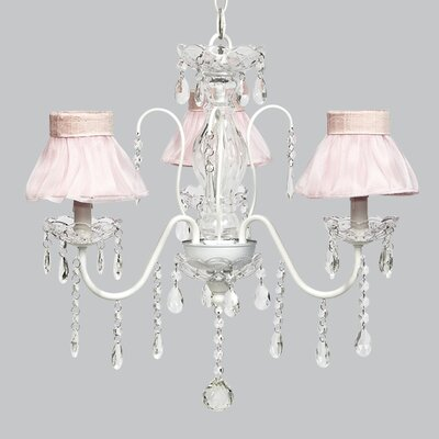 Jewel 3-Light Shaded Chandelier Shade Color: Pink