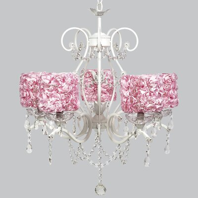 Grace 5-Light Crystal Chandelier Shade Color: Pink