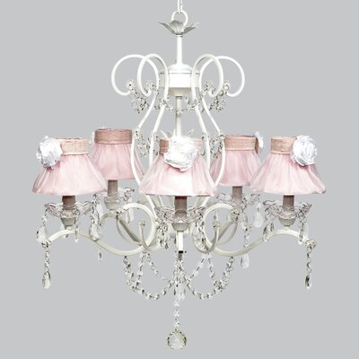 Grace 5-Light Shaded Chandelier Shade Color: Pink / White