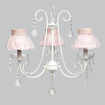 Bliss 3-Light Shaded Chandelier Shade Color: Pink