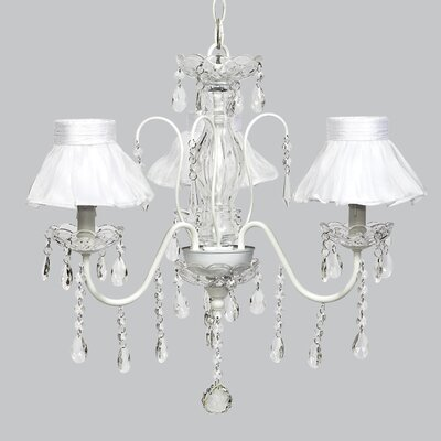 Jewel 3-Light Shaded Chandelier Shade Color: White