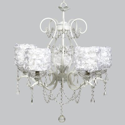 Grace 5-Light Crystal Chandelier Shade Color: White