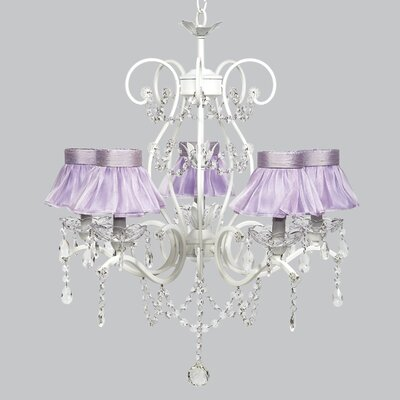 Grace 5-Light Crystal Chandelier Shade Color: Lavender