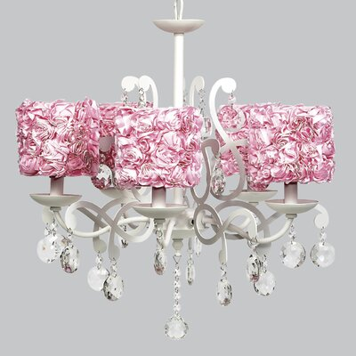 Elegance 5-Light Shaded Chandelier Shade Color: Pink