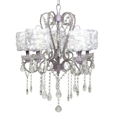 Whimsical 5-Light Crystal Chandelier Shade Color: White