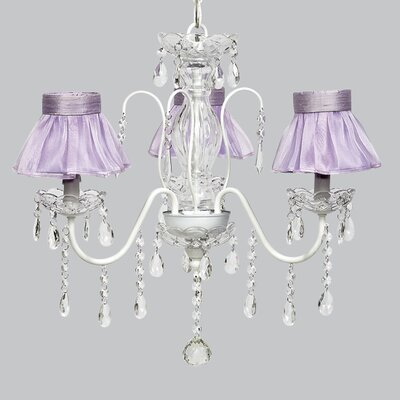 Jewel 3-Light Shaded Chandelier Shade Color: Lavender