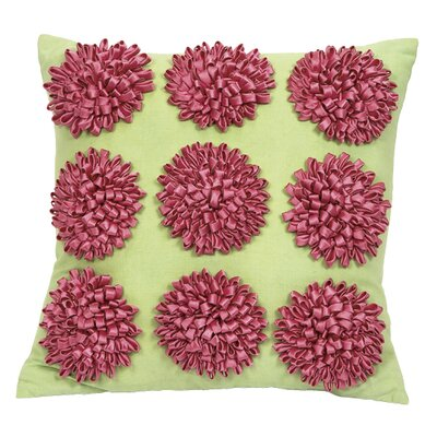 9 Dahlias Flowers Throw Pillow Color: Green / Pink