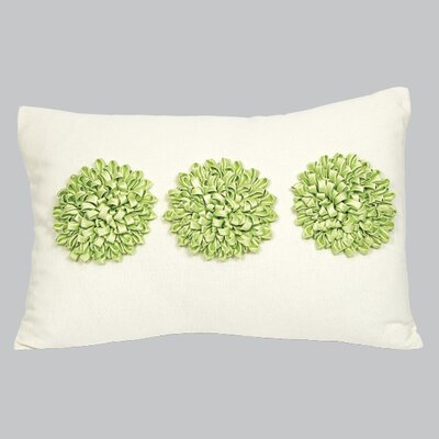 3 Dahlias Throw Pillow Color: Green