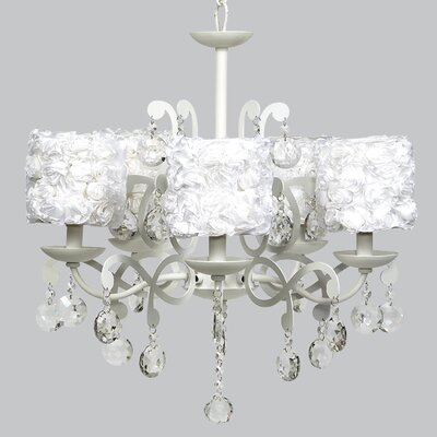 Elegance 5-Light Shaded Chandelier Shade Color: White