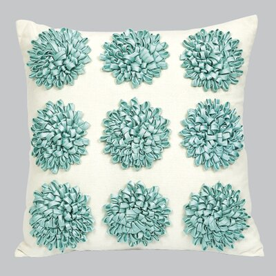 9 Dahlias Flowers Throw Pillow Color: Turquoise