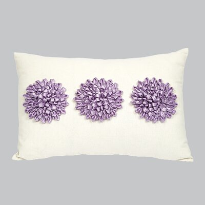 3 Dahlias Throw Pillow Color: Lavender