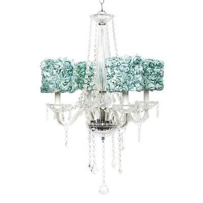 Middleton 4-Light Crystal Chandelier Shade Color: Turquoise