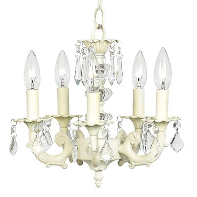 Stacked Ball 5-Light Crystal Chandelier Finish: Ivory