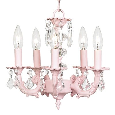 Stacked Ball 5-Light Crystal Chandelier Finish: Pink