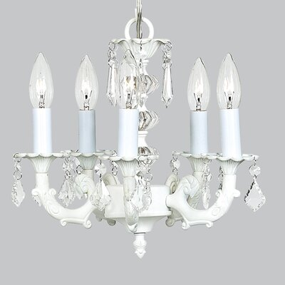 Stacked Ball 5-Light Crystal Chandelier Finish: White