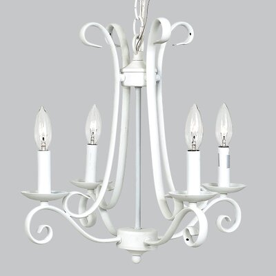 Harp 4-Light Candle-Style Chandelier Finish: White