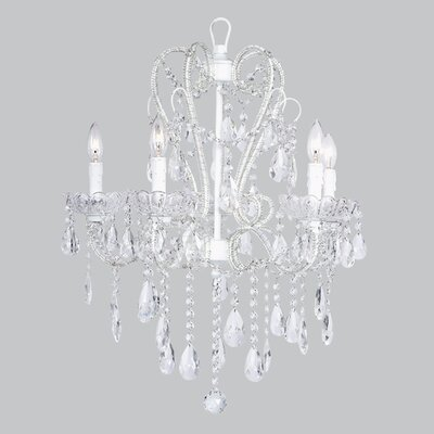 Whimsical 5-Light Crystal Chandelier Base Color: White
