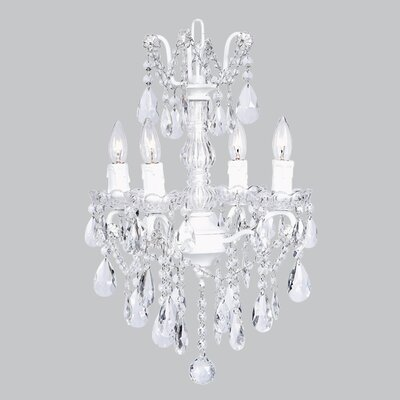 Glass Center 4-Light Crystal Chandelier Base Color: White