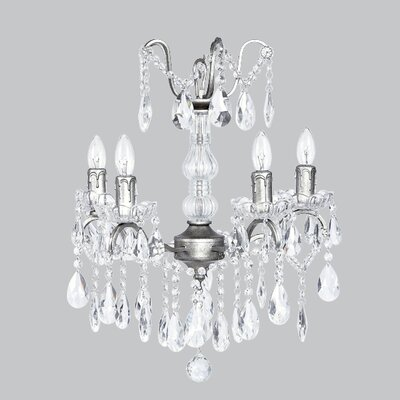 Glass Center 4-Light Crystal Chandelier Base Color: Antique Grey