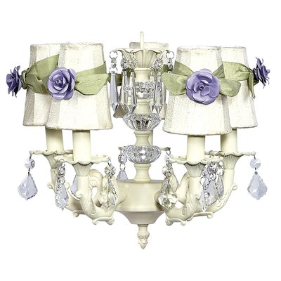 Stacked Ball 3-Light Shaded Chandelier Shade Color: Ivory with Green Sash
