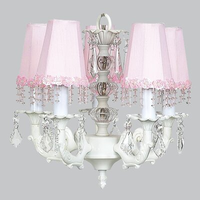Stacked Ball 5-Light Shaded Chandelier Shade Color: Pink Flower with Beads