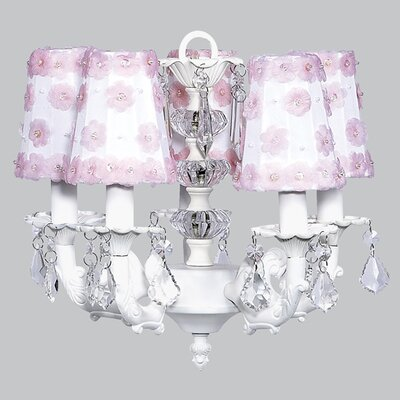 Stacked Ball 5-Light Shaded Chandelier Shade Color: White with Pink Flowers