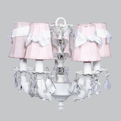 Stacked Ball 5-Light Shaded Chandelier Shade Color: White with Lavender Check Sash