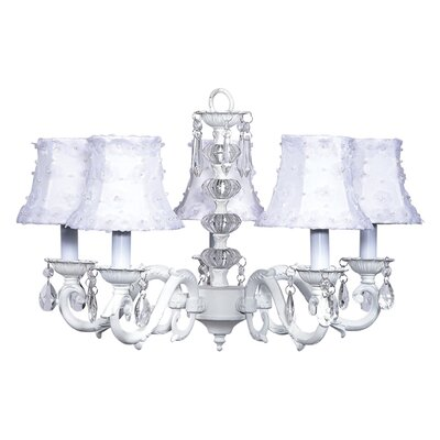 Turret 5-Light Shaded Chandelier Finish: White, Shade: White Petal Flower