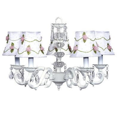 Turret 5-Light Shaded Chandelier Finish: White, Shade: White with Pink Net Flower