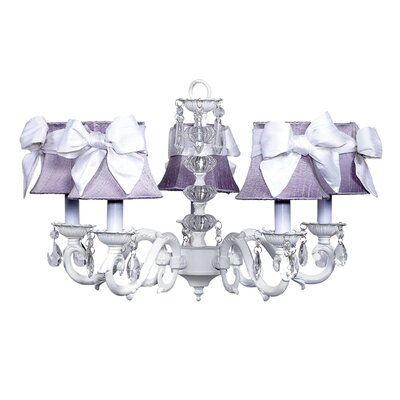 Turret 5-Light Shaded Chandelier Finish: White, Shade: Lavender with White Bow