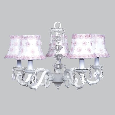 Turret 5-Light Shaded Chandelier Finish: White, Shade: White and Pink Petal Flower