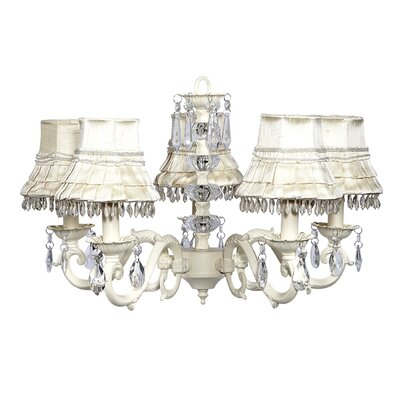 Turret 5-Light Shaded Chandelier Finish: Ivory, Shade: Ivory Skirt Dangle