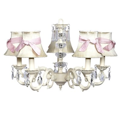 Turret 5-Light Shaded Chandelier Finish: Ivory, Shade: White with Pink Sash