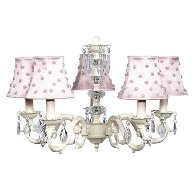 Turret 5-Light Shaded Chandelier Finish: Ivory, Shade: Pink Pearl Dot