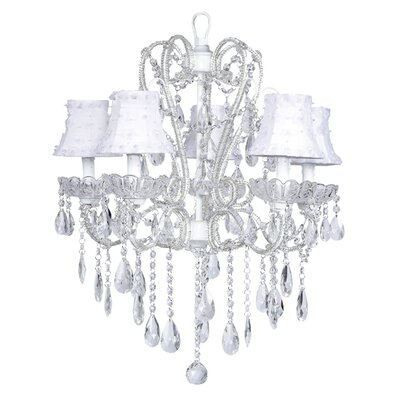Carousel 5-Light Shaded Chandelier Shade: Petal Flower White, Finish: White
