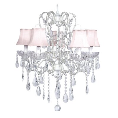 Carousel 5-Light Shaded Chandelier Shade: Pink, Finish: White