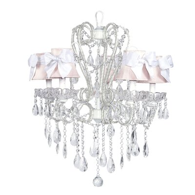 Carousel 5-Light Shaded Chandelier Shade: Pink with White Bow, Finish: White