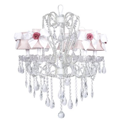 Carousel 5-Light Shaded Chandelier Shade: Pink with White Sash, Finish: White